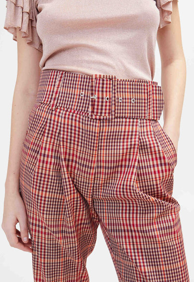Motivi Pantaloni cu model in carouri Capri Femei