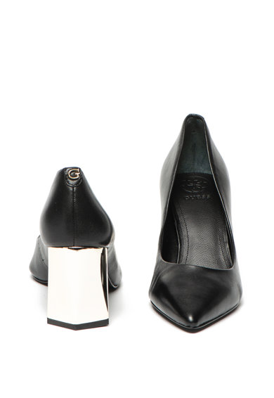 Guess Pantofi de piele cu varf ascutit si toc asimetric Femei