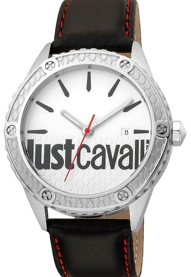 JUST CAVALLI Овален часовник с кожена каишка Мъже