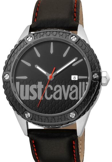 JUST CAVALLI Кварцов часовник с кожена каишка и лого Мъже
