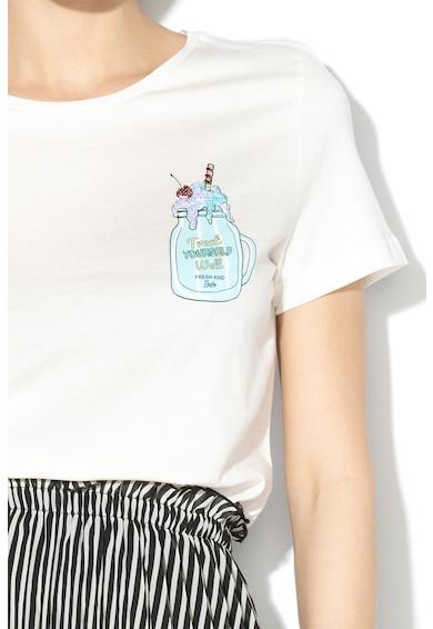 Vero Moda Tricou din bumbac organic cu aplicatie cu paiete Diana Femei