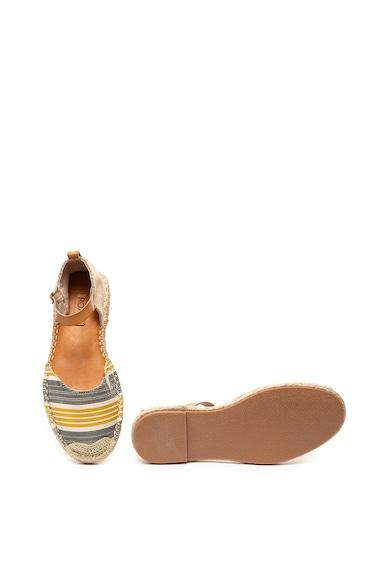 ROXY Sandale tip espadrile din material textil si piele ecologica, cu dungi Rosalie Femei
