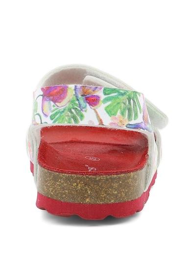 Kickers kids Sandale de piele ecologica, cu model tropical Fete