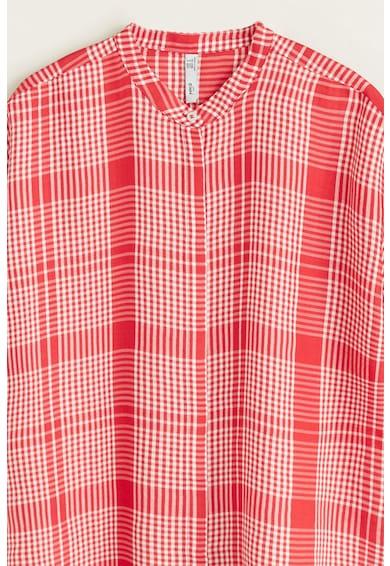 Mango Blair kockás ing húzott ujjakkal női