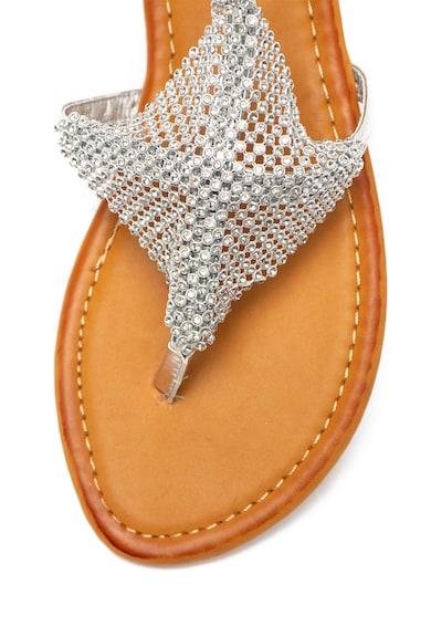 Cristin Sandale de piele ecologica cu bareta separatoare si insertie cu model plasa Romea Femei