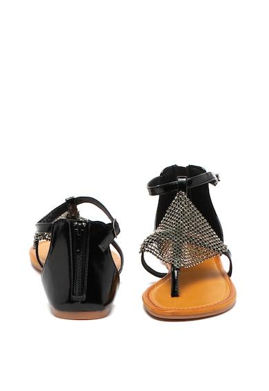 Cristin Sandale de piele ecologica cu bareta separatoare si strasuri Romea Femei
