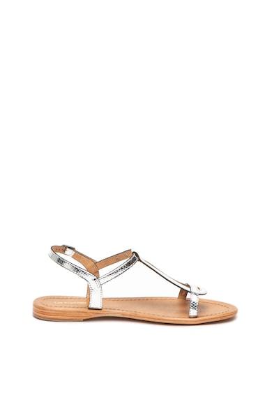 Les Tropeziennes Sandale cu talpa plata de piele si aspect metalizat Hamat Femei