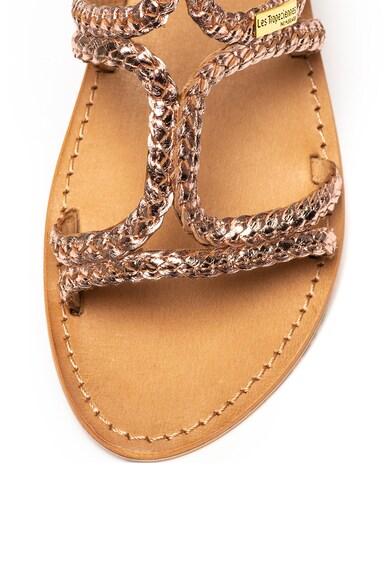 Les Tropeziennes Sandale de piele cu aspect impletit Bounty Femei