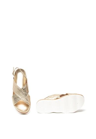 Tosca Blu Sandale flatform de piele cu aspect metalizat Bianca Femei