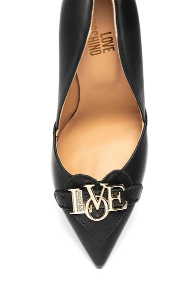 Love Moschino Pantofi de piele cu varf ascutit si logo metalic Femei