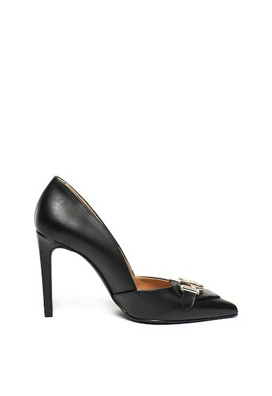 Love Moschino Кожени обувки с остър връх и метално лого Жени