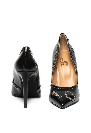 Love Moschino Pantofi de piele ecologica, cu aplicatii de tinte Femei