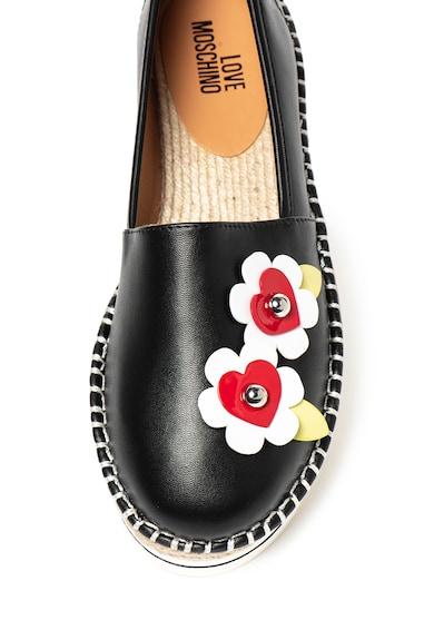 Love Moschino Espadrile de piele ecologica, cu detaliu floral Femei