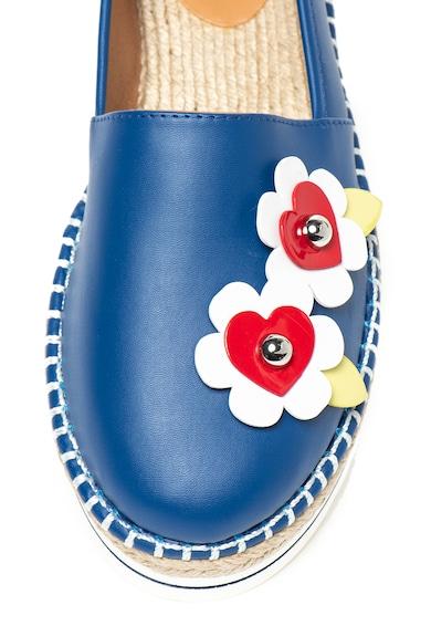 Love Moschino Espadrile de piele ecologica, cu aplicatii florale Femei