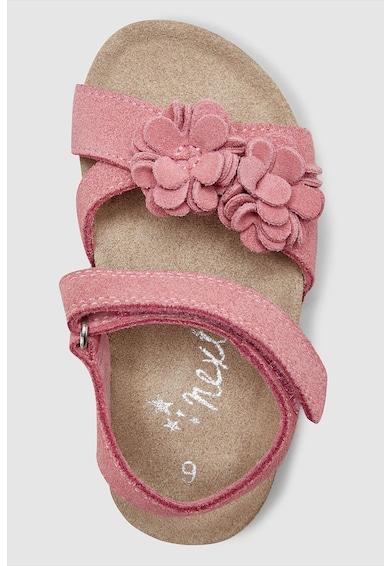 NEXT Sandale de piele intoarsa, cu velcro si aplicatie florala Fete