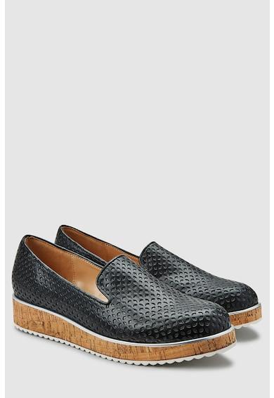 NEXT Pantofi slip-on de piele ecologica, cu talpa cu aspect de pluta Femei