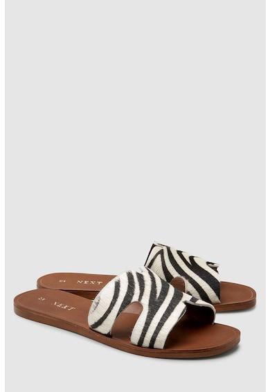 NEXT Papuci de piele cu par scurt Femei