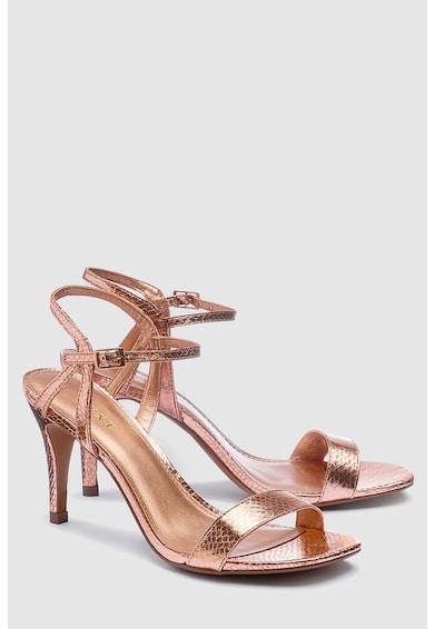NEXT Sandale de piele ecologica cu toc inalt si aspect metalizat Femei
