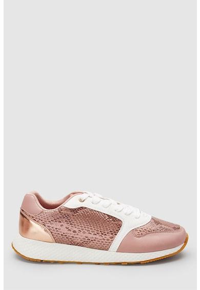 NEXT Pantofi sport de piele ecologica, cu insertii cu model reptila Femei