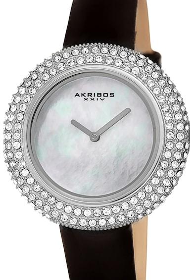 AKRIBOS XXIV Ceas cu o curea de piele si cristale Swarovski pe coroana Femei