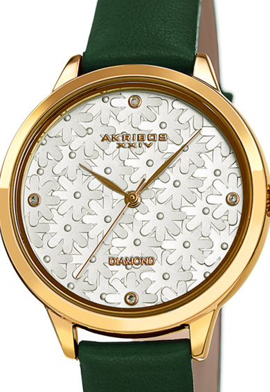 AKRIBOS XXIV Часовник с 4 диаманта и кожена каишка Жени