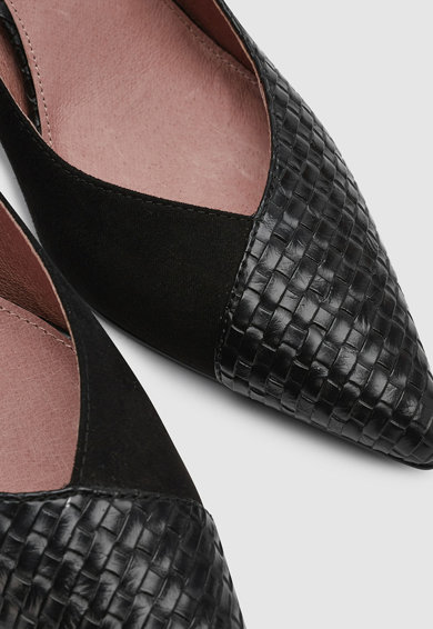 NEXT Pantofi de piele ecologica si material textil, cu toc clasic Femei