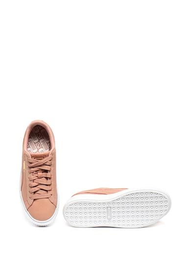 Puma Pantofi sport de piele si piele intoarsa, cu aspect stralucitor Platform Femei