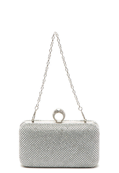 Antonia Moretti Малка чантичка с декоративни камъни, Сребрист Жени