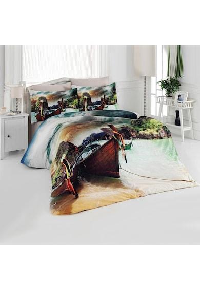 Kotonia Home Lenjerie de pat pentru 2 persoane Sandal  100% bumbac, model peisaj cu barcute Femei