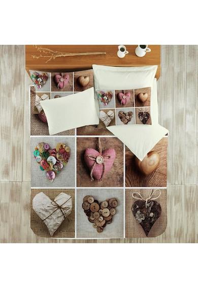 Kotonia Home Lenjerie de pat pentru 2 persoane Love  100% bumbac, model peisaj cu barcute Femei