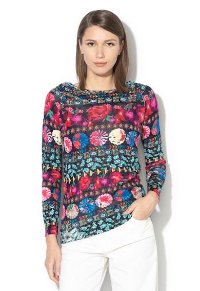 DESIGUAL Nedeerman virágmintás ejtett vállú pulóver női