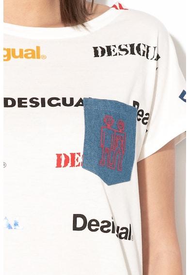 DESIGUAL Kendall modáltartalmú logómintás póló női