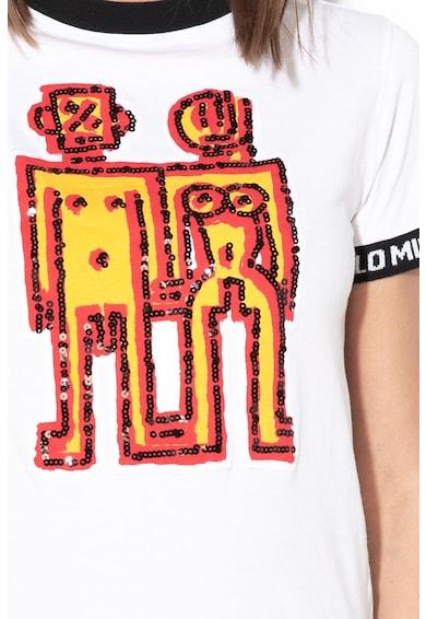 DESIGUAL Twins mintás póló flitterekkel női