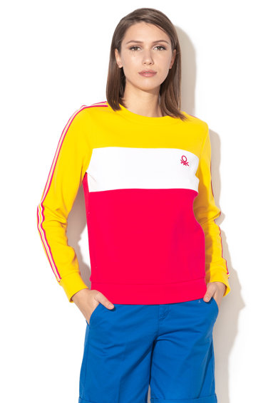 United Colors of Benetton Bluza sport cu decolteu la baza gatului si model colorblock Femei