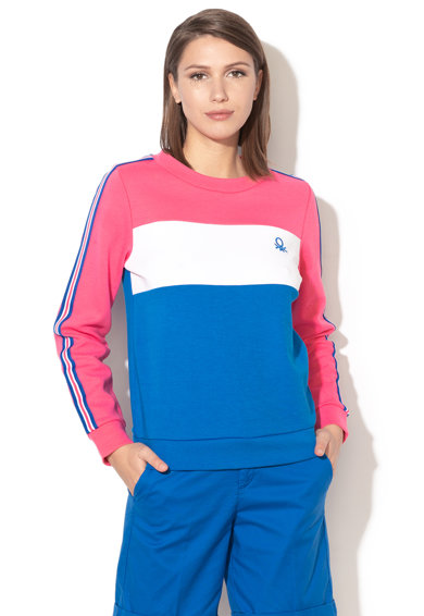 United Colors of Benetton Bluza sport cu decolteu la baza gatului si model colorblock Femei