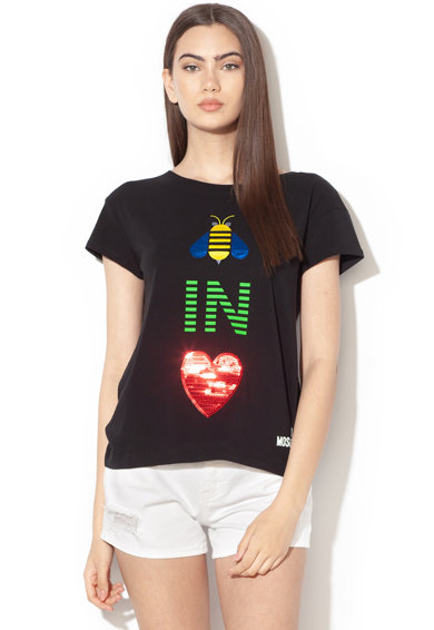 Love Moschino Tricou cu paiete si broderie Femei