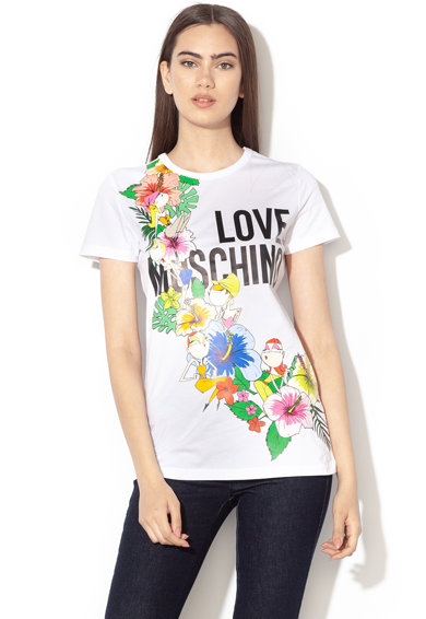 Love Moschino Mintás póló logóval női