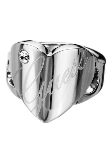 Guess Ródiummal bevont gyűrű szív alakú részlettel és logóval női