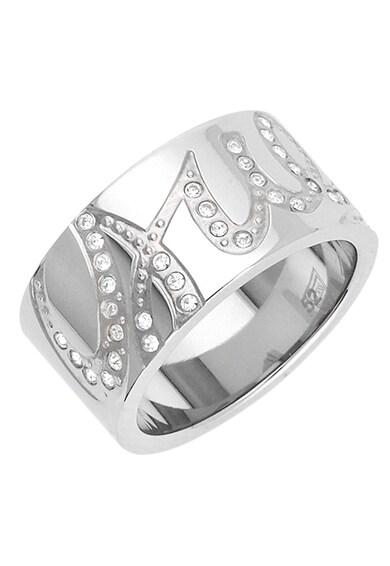 Guess Cirkónia kristályokkal díszített ródiummal bevont gyűrű logóval női