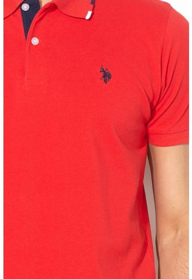 U.S. Polo Assn. Tricou polo din material pique cu broderie logo Barbati