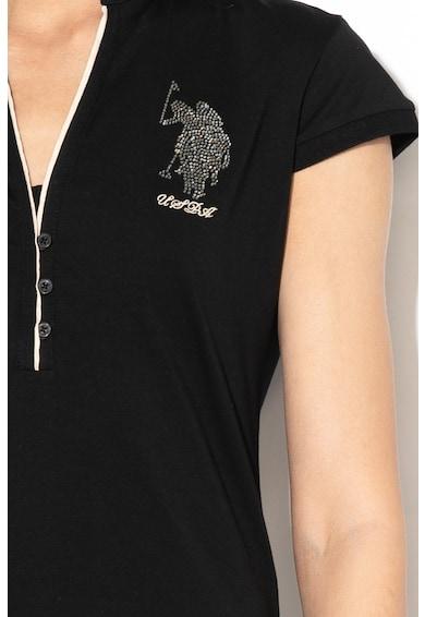 U.S. Polo Assn. Galléros póló strasszköves rátétekkel női