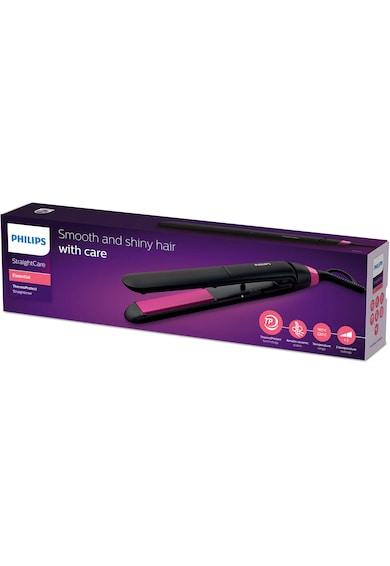 Philips Placa de par  StraighCare Essential BHS375/00, tehnologie ThermoProtect, placi cu infuzie de cheratina, Negru Femei