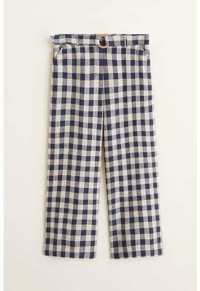 Mango Pantaloni de in, cu croiala ampla si model in carouri Rino Femei