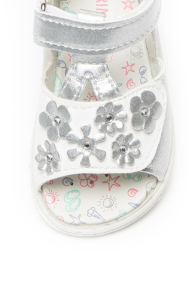Primigi Sandale de piele ecologica cu velcro si aplicatii florale Fete