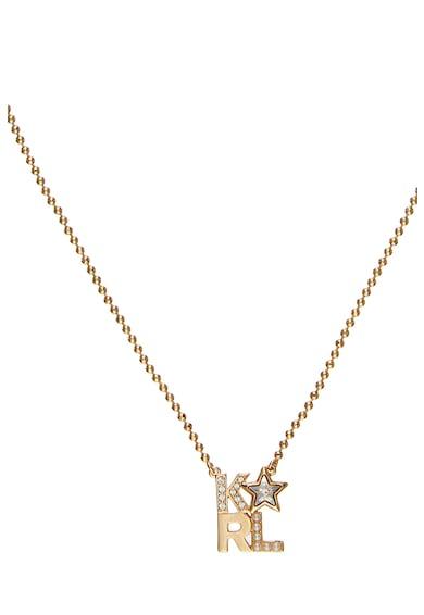 Karl Lagerfeld Colier cu pandantiv decorat cu cristale Swarovski, placat cu aur Femei