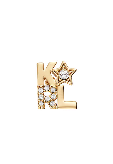Karl Lagerfeld 12 karátos arannyal bevont logós fülbevaló Swarovski kristályokkal női