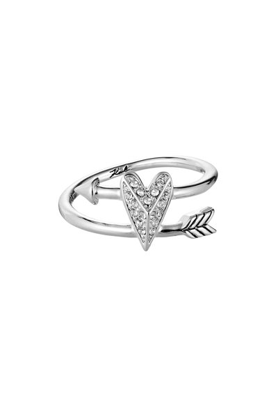 Karl Lagerfeld Szív alakú gyűrű ródiumbevonattal és Swarovski kristályokkal női