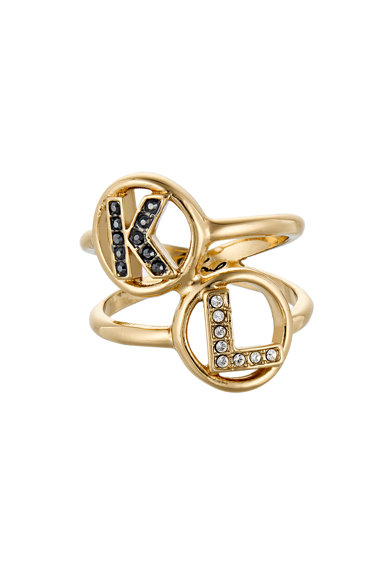 Karl Lagerfeld Inel cu cristale Swarovski, placat cu aur 12 K Femei