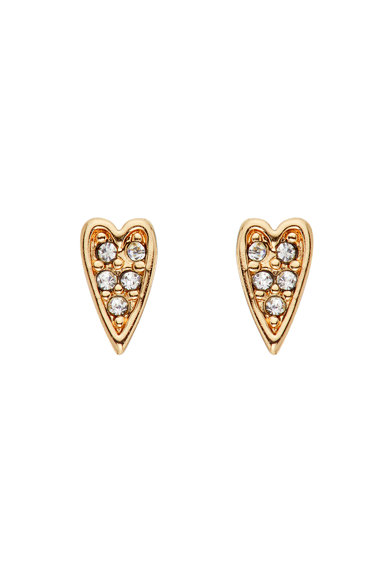 Karl Lagerfeld 12 karátos arannyal bevont szív alakú fülbevaló Swarovski® kristályokkal női