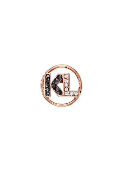 Karl Lagerfeld Cercei cu tija, monograma si cristale Swarovski®, placati cu aur rose 12 K Femei